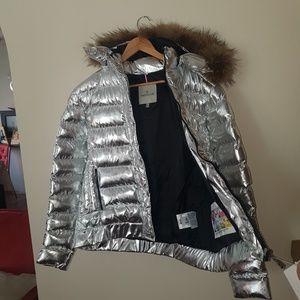 moncler jacket fox fur hoodie coat silver